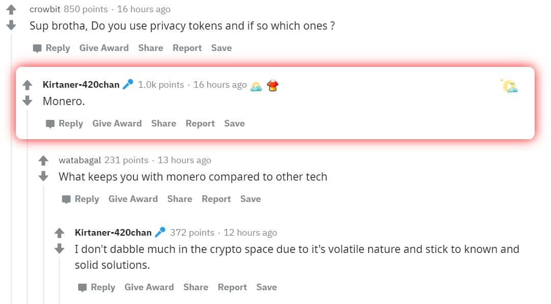 monero is a highly praised privacy coin